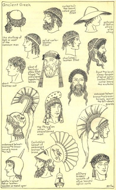 Ilustrations of the different hat and hair styles of the Ancient Greek (2):