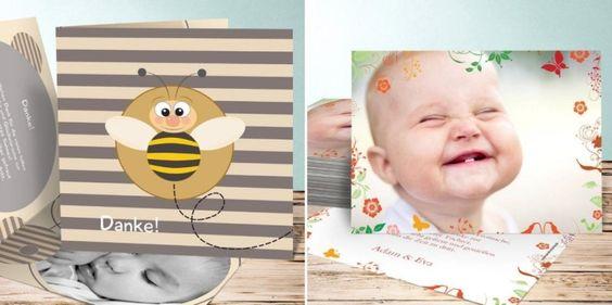 Dankeskarte zur Geburt Babykarte für Mädchen mit süßem Design
