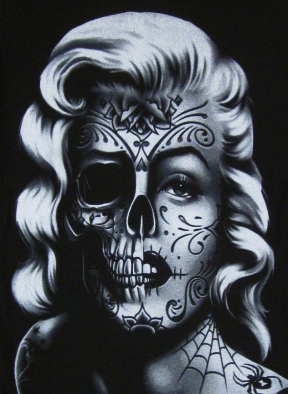 marilyn monroe skull tattoo - Google Search