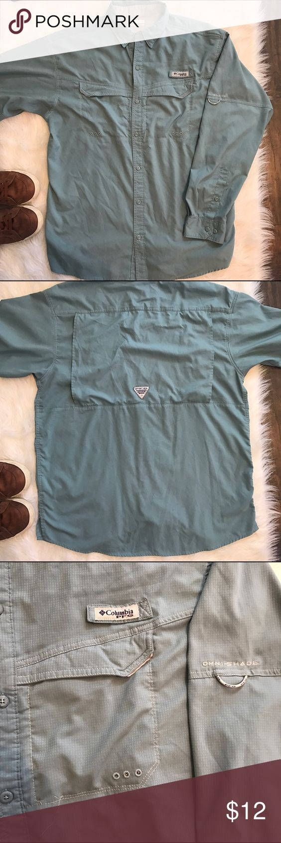 "Columbia PFG ""Low Drag Offshore"" long sleeve shirt Teal Columbia PFG ""Low Drag Offshore"" long sleeve shirt. Size L. Supremely comfortable and light weight fishing shirt 🎣. In fair used condition. Some very slight pilling. Columbia Shirts Casual Button Down Shirts"