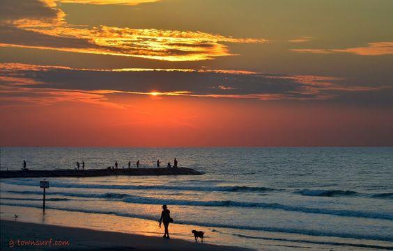 Takin' the pooch for a morning walk along the shore... what a morning!! Galveston, Texas