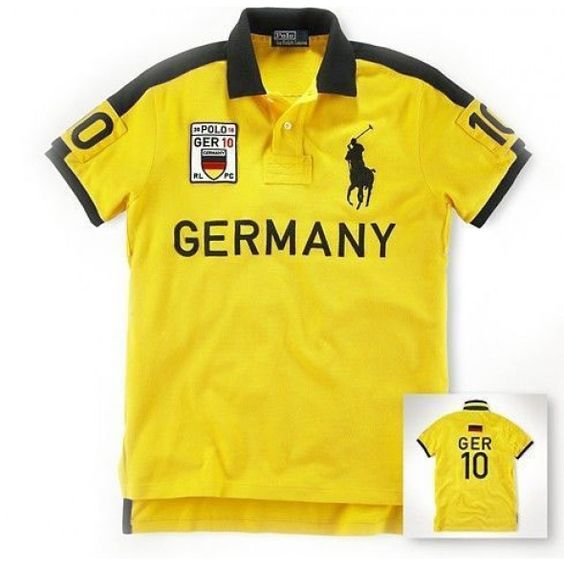 Fashion Ralph Lauren Big Pony Refined GERMANY Symbol Yellow Polo http://www.