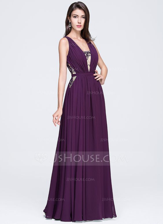 A-Line/Princess V-neck Floor-Length Ruffle Lace Zipper Up Regular Straps Sleeveless No Grape Spring Summer Fall General Plus Chiffon Prom Dress
