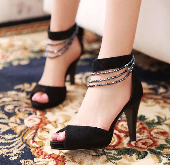 Black Bling Open Toe Sandals