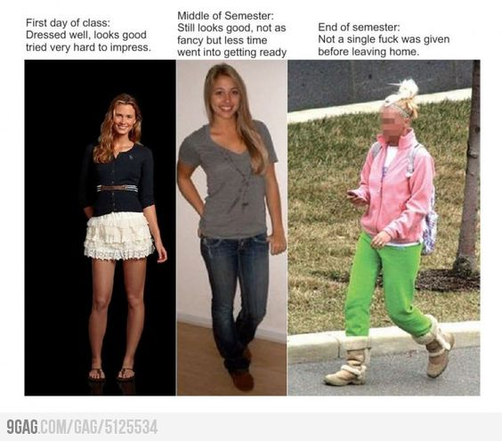 How women dress throughout their semester of college: Giggle, College Life, Woman Dresses, My Life, Funny Picture, Funny Stuff, So True, High Schools