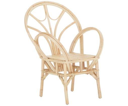 Krzesło z podłokietnikami z rattanu Kosdina, Rattan Witajcie