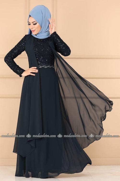 Modaselvim Abiye Yelek Gorunumlu Tasli Tesettur Abiye Alm52758 Laci Print Chiffon Maxi Dress Muslim Fashion Hijab Fashion
