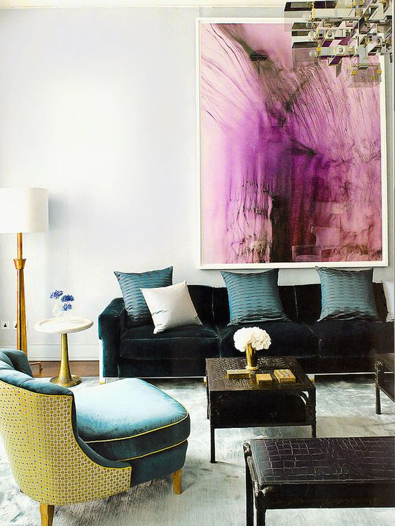 living room color, purple art, turquoise chair, gold lamp, david collins interiors