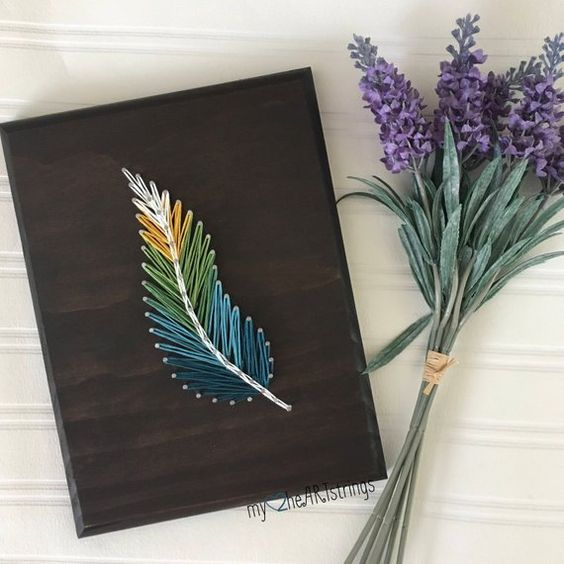 7x9 stringart feather Buyer can customize stain and string color :)