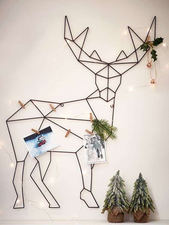 Display your favourite Christmas cards for all to see in our large, geometric inspired card holder. Made from strong wire frame shaped like a majestic reindeer, each holder comes complete with twelve wooden pegs for displaying cards and includes subtle keyhole hooks for fixing to a wall.: