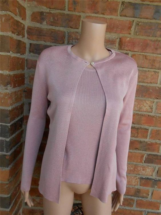 HAROLD'S 100% Silk Sweater Twin Set Size M Women Cardigan Tank Top ...