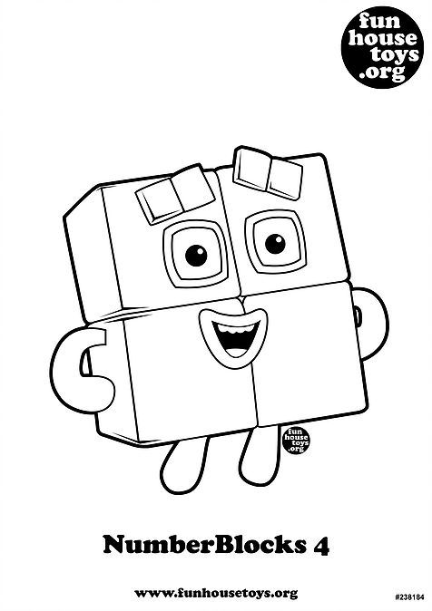 Numberblocks 4 Printable Coloring Page Kids Printable Coloring Pages Coloring Pages Valentine Coloring Pages