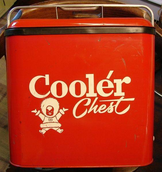Cooler Chest Red w/White Eskimo Logo Bottle Opener Tray Vintage 1950's Nice