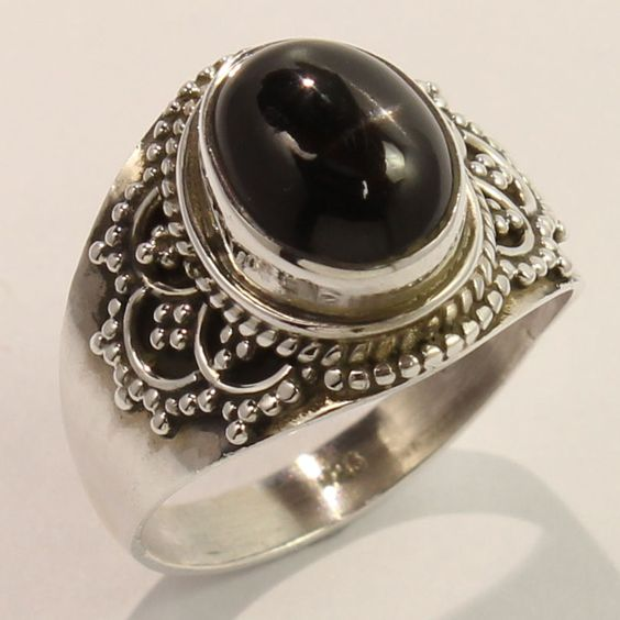 Fabulous Ring Size US 6.75 Natural BLACK STAR Gemstone 925 Solid Sterling Silver…