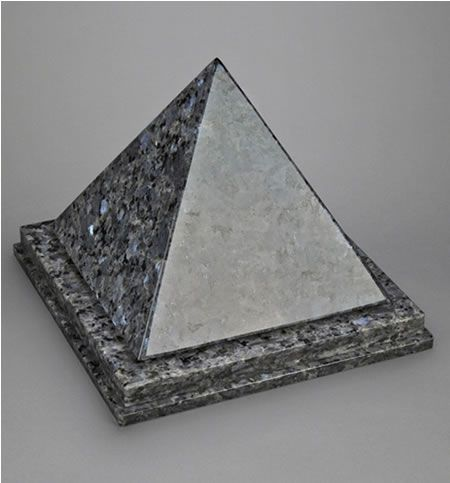 Blue Pearl Pyramid Single Cremation Urn
