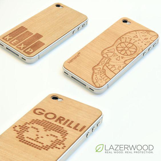 Custom laser-etched wood iPhone skins