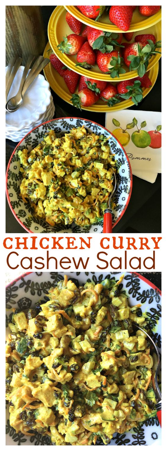 Chicken Curry Cashew Salad is made of everything delicious - chicken, curry, cashews, currants, carrot, celery, and cilantro!