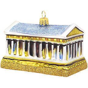 Greek Parthenon Glass Ornament   Polish Glass Travel Ornaments ...