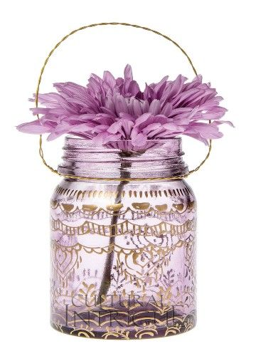 Mason Jar thanksgiving Centerpieces | Small Amethyst Mehndi Mason Jar: