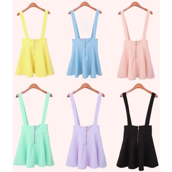 Pastel Goth Suspender Skirt (Kawaii Gunge Anime) ($24) ❤ liked on Polyvore: