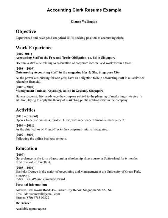 Clerical Resume Sample provides your chronological order of - self employment resume