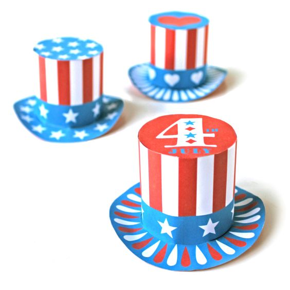 ... : Paper mini top hats | Mini Top Hats, Top Hats and Fourth of July