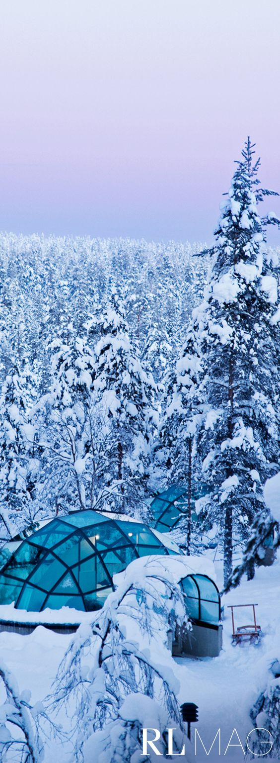 This is the Kakslauttanen Arctic Resort, a lush winter wonderland in the middle of nowhere.  Read more on Ralph Lauren Magazine.: