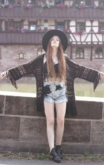 hat, indie cardigan, high-waisted shorts, black boots, graphic tee