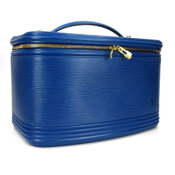 Vintage Louis Vuitton Blue Epi Leather Vanity Beauty Tote Train Case - I have it in  black epi
