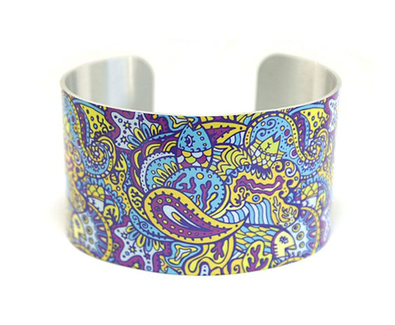 Cuff bracelet, women's jewellery bangle, purple yellow paisley ocean waves  C135 £19.50