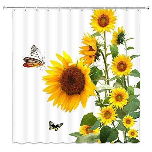 Amnysf S Sunflower Shower Curtain Sunflower Bathroom Sunflower Curtains Shower Curtain