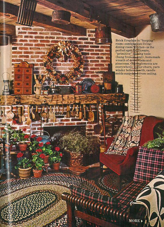 Can you guess what year this photo of a primitive living room was featured in Country Living?