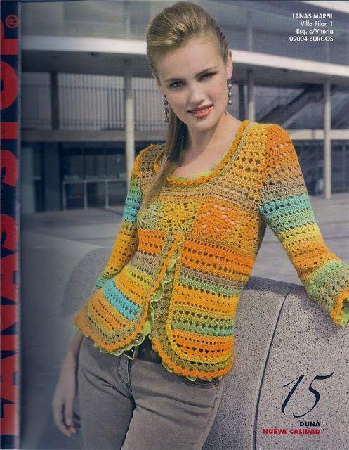 Materiales gráficos Gaby: Suéter folk crochet