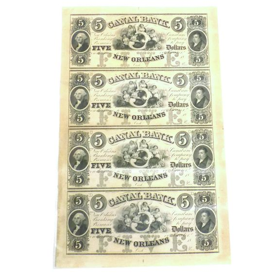 CANAL BANK $5 Obsolete Money Currency NEW ORLEANS Sheet UNCUT Notes ABCD