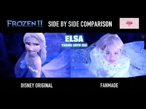 Real Life Elsa In Ahtohallan Side By Side Comparison Frozen 2 Elsa Turns Into Ice Elsa White Dress Real Life Side By Side Comparison Disney Animated Movies