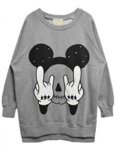 Grey Long Sleeve Rivet Mickey Print Sweatshirt pictures: