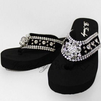 """RESTOCKED""Crystal Studded Flower Flip Flops - FF103-FF2 - FLIP FLOPS - ACCESSORIES | Shop Jewelry Factory"