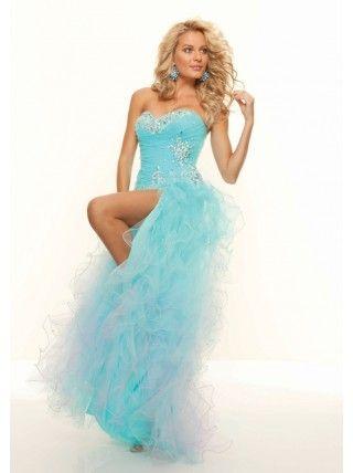 A-Line Sweetheart Beading Ruffled Split Front Organza Long Blue Prom Dress