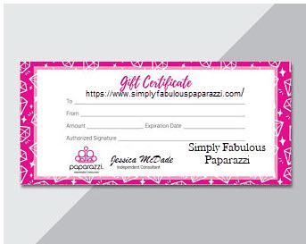 2020 Gift Certificates Select A Value Paparazzi Gifts Printable Gift Cards Coupon Template