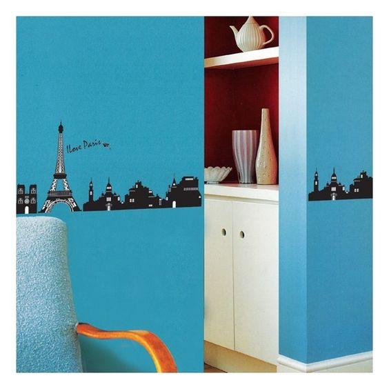 Een klassieke skyline van parijs geeft een aangename sfeer in iedere kamer plak de sticker - Kamer sfeer ...