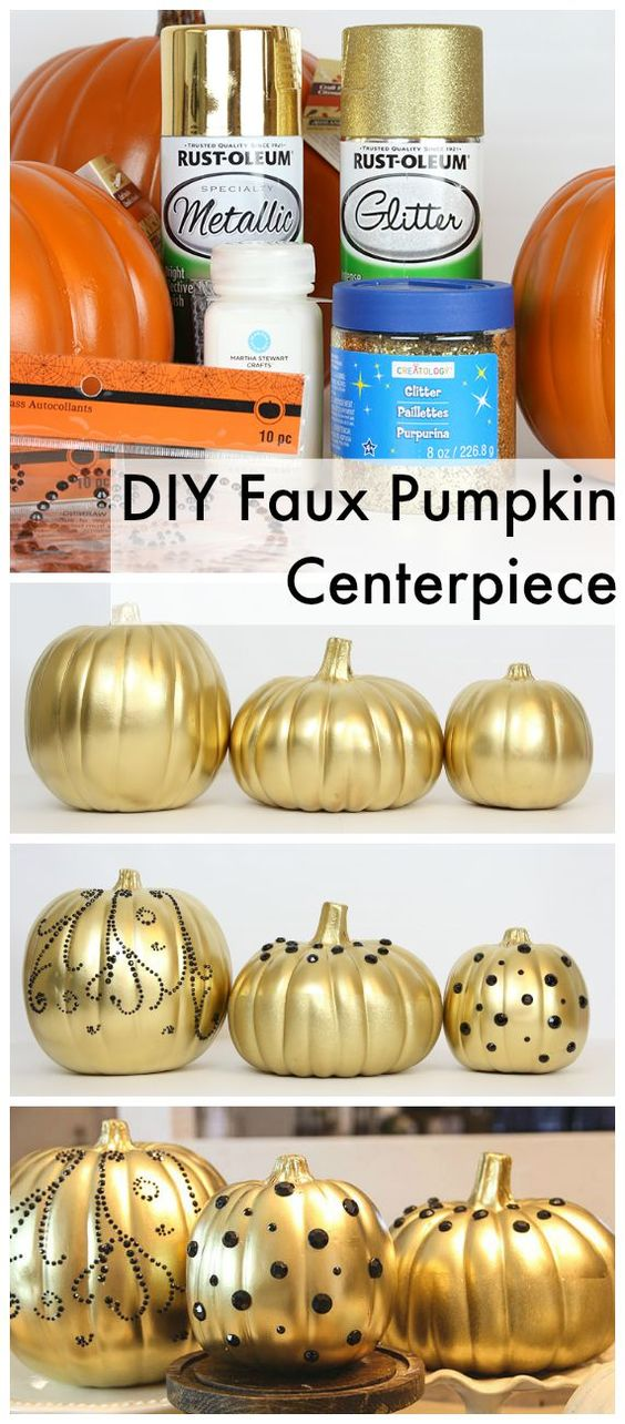 DIY Halloween Tablescape and Embellished Faux Pumpkins: @ClassyClutter4 loves decorating for Fall and Halloween so today they're going to show you how to make a super cute and easy Halloween tablescape and how to decorate faux pumpkins for Halloween using craft supplies. http://spr.ly/6495BAAY5:
