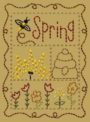 PK151 Spring Sampler Version 2 - 4x4: Primitive Keepers, Prim Machine Embroidery Designs
