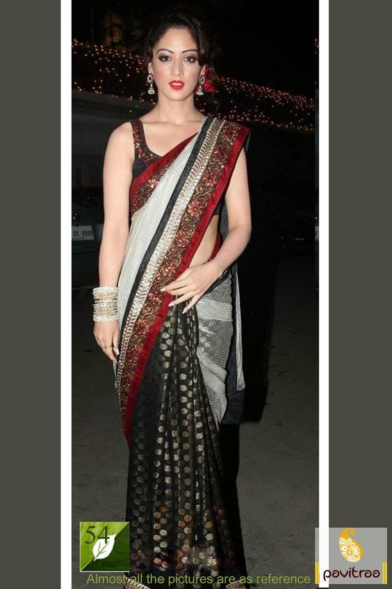 #Black with Off White #Bollywood #Party Wear #Sarees