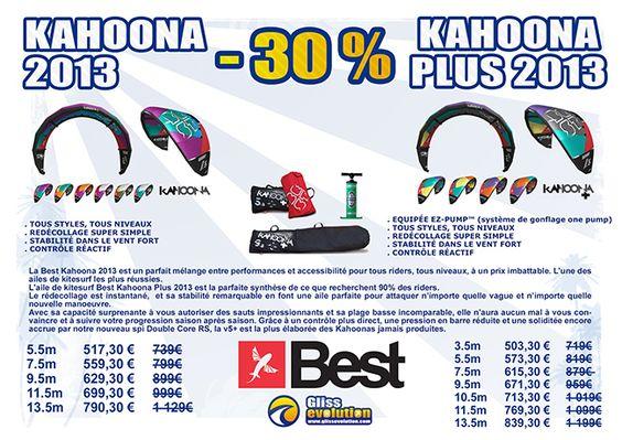 Promos -30 sur les ailes Best Kahoona v5 2013 et Kahoona Plus | Glissevolution – Ecole et cours de kitesurf, location et randonnées en Jet-ski, Flyboard, Ski nautique, wakeboard, Flyfish, Stand up Paddle, voilerie, surf-shop à La Baule / Pornichet – Loire Atlantique