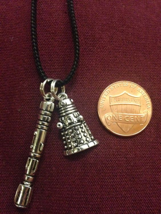 Dalek and Sonic Screwdriver Charm Necklace - Doctor Who Geek Jewelry by RandomGeekCrafting on Etsy