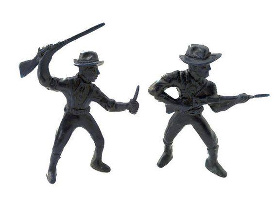 """Marx Payton Cavalry Men Civil War Action Figures Dark Blue Plastic Soldiers 4"""" inch Toy War Guys  by CollectionSelection"""
