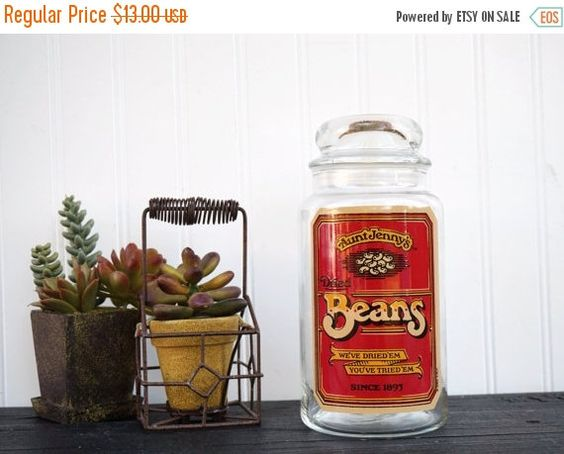 SALE Vintage Aunt Jenny's Glass Dried Beans Jar by MODernThrowback