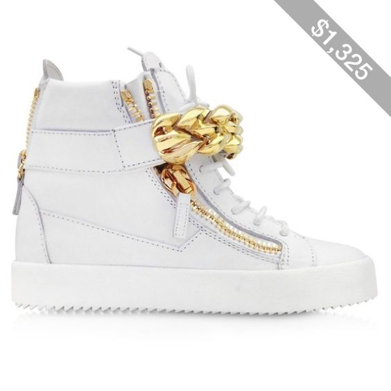 Giuseppe Zanotti Shoes White Leather High-top Sneaker w/Chain Detail