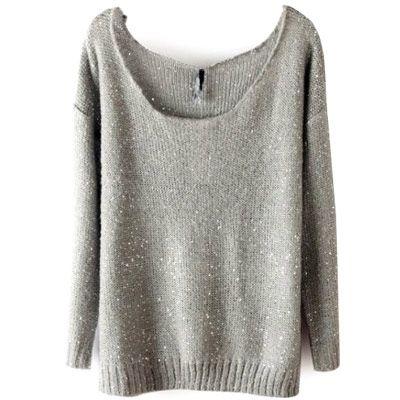 39,90EUR Pullover grau mit weitem Ausschnitt Pailettenpullover
