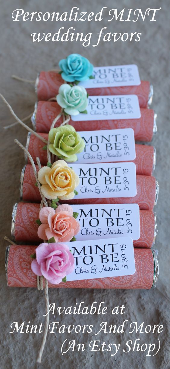Personalized wedding favors with a MINT TO BE favor tag. Mint to be wedding favors wrapped in coral with colorful roses. Visit www.mintfavorsandmore.etsy.com for more designs.